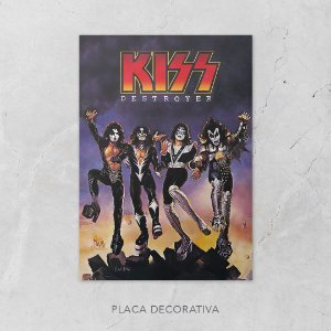 Quadro Placa Decorativo Banda Kiss Destroyer Preto & Branco