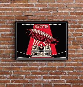 Quadro Placa Decorativo Banda Led Zeppelin Mothership Preto & Vermelho