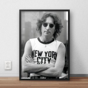 Quadro Placa Decorativo John Lennon New York City Preto & Branco