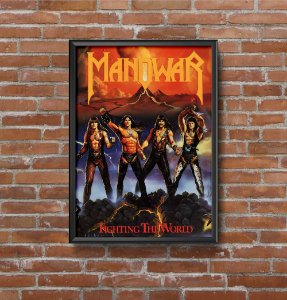Quadro Placa Decorativo Banda Manowar Fighting The World Vermelho & Amarelo