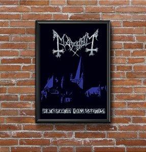 Quadro Placa Decorativo Banda Mayhem De Mysteriis Dom Sathanas Preto & Azul