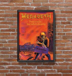 Quadro Placa Decorativo Banda Megadeth Peace Sells... But Who's Buying? Vermelho & Azul