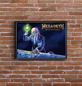 Quadro Placa Decorativo Banda Megadeth Rust In Peace Azul & Amarelo