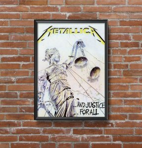 Quadro Placa Decorativo Banda Metallica ...And Justice For All Branco & Amarelo