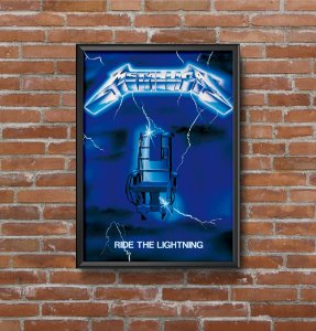 Quadro Placa Decorativo Banda Metallica Ride The Lightning Preto & Azul