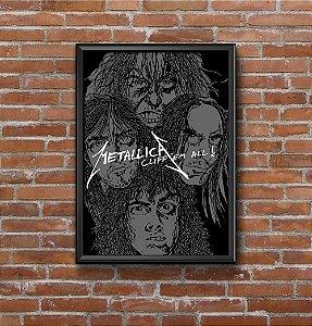Quadro Placa Decorativo Banda Metallica Cliff 'Em All Preto & Branco
