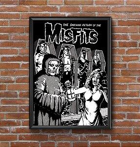 Quadro Placa Decorativo Banda Misfits The Shocking Return Of The Misfits Preto & Branco