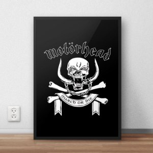 Quadro Placa Decorativo Banda Motorhead March Or Die Preto & Branco