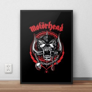 Quadro Placa Decorativo Banda Motorhead Everything Louder Than Everyone Else Preto & Vermelho