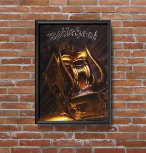 Quadro Placa Decorativo Banda Motorhead Orgasmatron Preto & Amarelo
