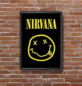 Quadro Placa Decorativo Banda Nirvana Preto & Amarelo