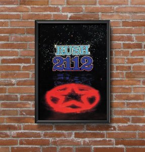 Quadro Placa Decorativo Banda Rush 2112 Preto & Vermelho