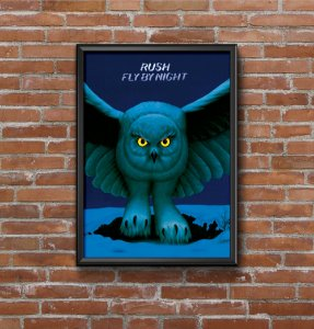 Quadro Placa Decorativo Banda Rush Fly By Night Azul & Preto
