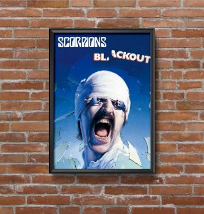 Quadro Placa Decorativo Banda Scorpions Blackout Azul & Preto