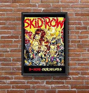 Quadro Placa Decorativo Banda Skid Row B-Side Ourselves Amarelo & Vermelho