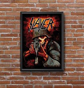 Quadro Placa Decorativo Banda Slayer Preto & Vermelho