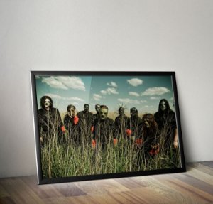 Quadro Placa Decorativo Banda Slipknot Preto & Verde