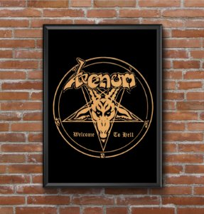 Quadro Placa Decorativo Banda Venom Welcome To Hell Preto & Amarelo