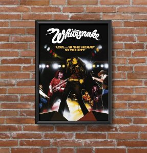 Quadro Placa Decorativo Banda Whitesnake Live... In The Heart Of The City Preto & Branco