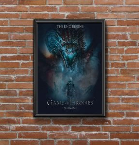 Quadro Placa Decorativo Série Game Of Thrones The End Begins Temporada 7 Preto & Azul