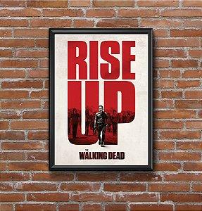 Quadro Placa Decorativo Série The Walking Dead Rise Up Vermelho & Branco