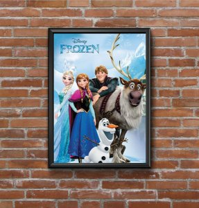 Quadro Placa Decorativo Filme Frozen Azul & Branco