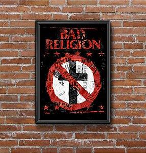 Quadro Placa Decorativo Banda Bad Religion Preto & Branco