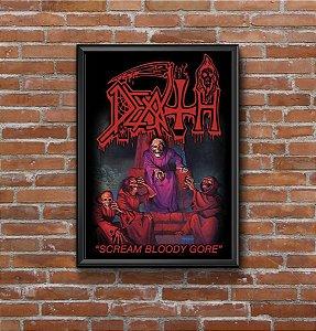 Quadro Placa Decorativo Banda Death Scream Bloody Gore Preto & Vermelho