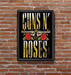 Quadro Placa Decorativo Banda Guns N' Roses Preto & Amarelo