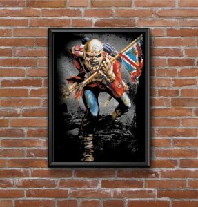 Quadro Placa Decorativo Banda Iron Maiden Invasion Of Rarities Azul & Vermelho