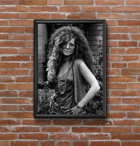 Quadro Placa Decorativo Janis Joplin Preto & Branco