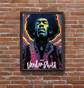 Quadro Placa Decorativo Jimi Hendrix Voodoo Child Rosa & Azul