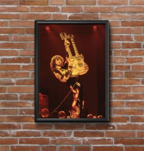 Quadro Placa Decorativo Jimmy Page Vermelho & Preto