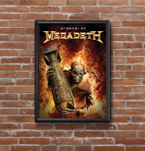 Quadro Placa Decorativo Banda Megadeth Arsenal Of Megadeth Preto & Vermelho