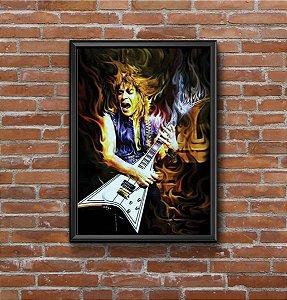 Quadro Placa Decorativo Randy Rhoads Preto & Amarelo