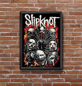 Quadro Placa Decorativo Banda Slipknot Preto & Vermelho