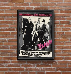 Quadro Placa Decorativo Banda The Clash Preto & Branco