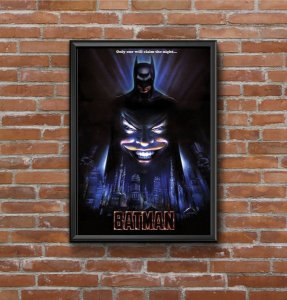Quadro Placa Decorativo Super-Herói Batman DC Comics Preto & Azul