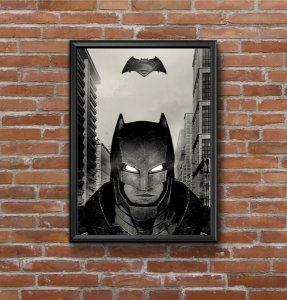 Quadro Placa Decorativo Super-Herói Batman DC Comics Preto & Branco