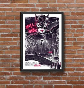 Quadro Placa Decorativo Mulher Gato Filme Batman Returns Preto & Vermelho