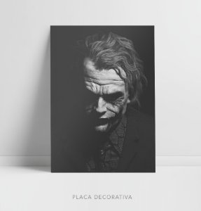 Quadro Placa Decorativo Coringa Filme Batman - The Dark Knight Preto & Branco