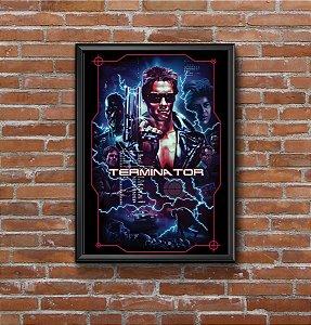 Quadro Placa Decorativo Filme O Exterminador Do Futuro Preto & Azul