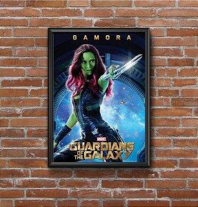 Quadro Placa Decorativo Filme Guardiões Da Galáxia Gamora Azul & Verde