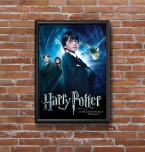 Quadro Placa Decorativo Filme Harry Potter E A Pedra Filosofal Preto & Azul