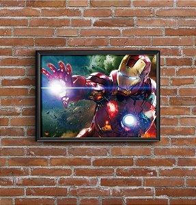 Quadro Placa Decorativo Super-Herói Homem De Ferro Marvel Vermelho & Dourado