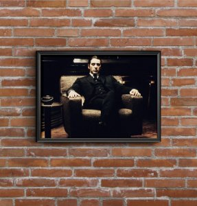 Quadro Placa Decorativo Filme O Poderoso Chefão Michael Corleone Preto & Branco