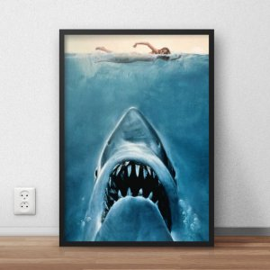 Quadro Placa Decorativo Filme Jaws - Tubarão Azul & Vermelho