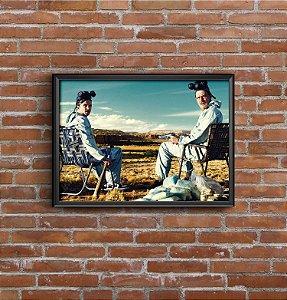 Quadro Placa Decorativo Série Breaking Bad Walter & Jesse Pinkman Azul
