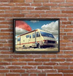 Quadro Placa Decorativo Série Breaking Bad Trailer Azul
