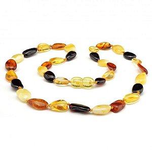 Colar de âmbar adulto olive multicolor polido
